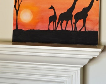 Giraffe #1 Original Painting family sunset bedtime, gouache watercolor, large art on canvas, 16x20