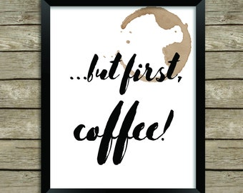 Coffee Print for Home Office or Kitchen, Instant Download, Printable, Girl Boss, Coffee Lover