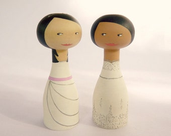 Wedding cake topper same sex couple lesbian gay couple portrait - Personalized - Wooden peg art doll hand painted FREE SHIPPING
