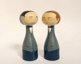 Wedding cake topper same sex couple gay couple portrait - Personalized - Wooden peg art doll hand painted FREE SHIPPING