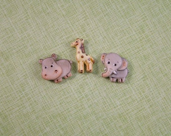 Zoo Animal Embellishments set of 3