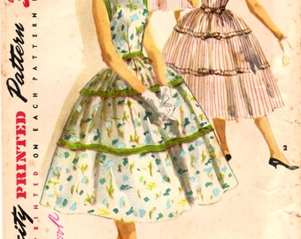 1950s Simplicity 1564 Vintage Sewing Pattern Misses One Piece Dress, Party Dress, Full Skirt Dress Size 14 Bust 32