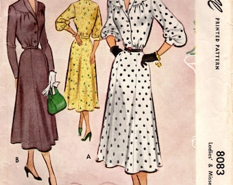1950s McCall 8083 Vintage Sewing Pattern Misses Afternoon Dress, Shirtwaist Dress Size 16 Bust 34