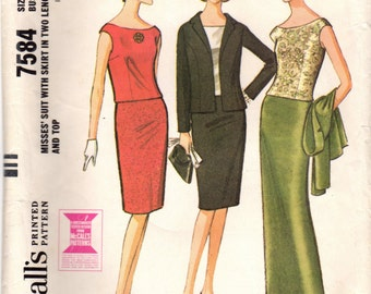 1960s McCall's 7584 Vintage Sewing Pattern Misses Slim Skirt, Pencil Skirt, Top, Shell, Jacket, Evening Skirt, Suit Size 12 Bust 32