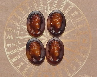 Vintage Glass Cameos - 18x13 mm Glass Relief Cabochons In Buffalo Horn Brown (choose 2 pc or 4 pc)