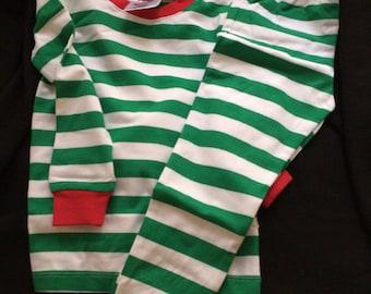 Childs Stripped Christmas Pajamas Personalized
