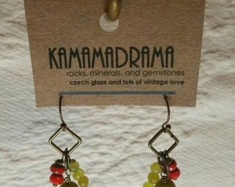 czech glass and korean jade earrings