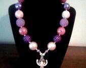 Ballerina Rhinestone Bubblegum Bead Necklace, Toddler Necklace,Handcrafted, Chunky Bead Necklace, Jewelry for Kids