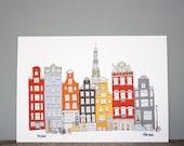 Amsterdam Print // A4 Illustration // Architecture Cityscape Art