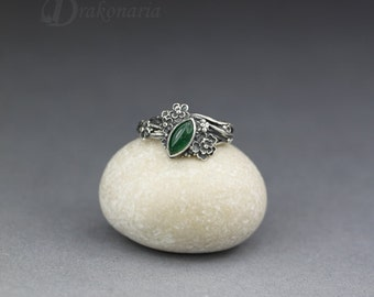 Twig ring - aventurine in silver, limited collection