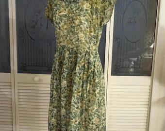 Vintage 50s Madmen Rockabilly Pleated Secretary Day Dress