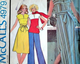 Vintage 70's McCall's 4979 Sewing Pattern, Misses Dress Or Top, Size 12, Bust 34