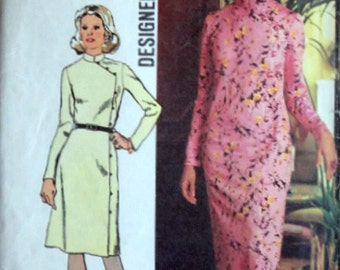 Vintage 70's Simplicity 5321 Designer Fashion Sewing Pattern, Miss Petites Dress In Two Lengths, Size 10 mp, Bust 32.5, Retro 1970's Fashion