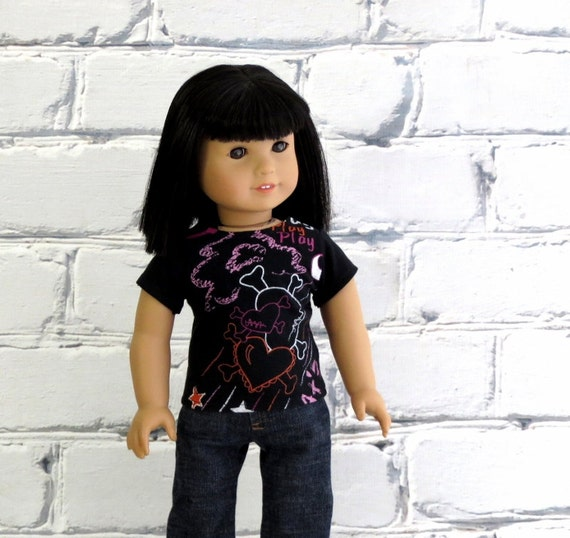 Goth Girl Valentine Tee, Crossbone Hearts Top, Handmade to fit American Girl Doll