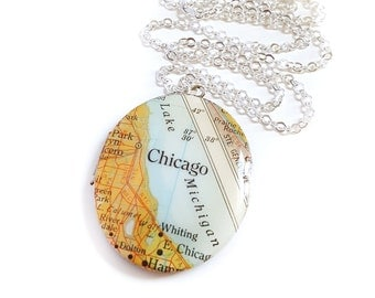 Chicago Map Necklace on a Large Silver Locket, Vintage Oval Locket, Illinois, Vintage Map, Travel Jewelry, Gift for Her, Ready to Ship