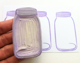 Mason jar rubber stamp, hand carved rubber stamp, kitchen stamp, canning stamps, diy preserves, diy gift tags