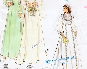"Vintage 60's Butterick 4887 Misses Bridal Gown: Bridesmaid Sewing Pattern  Bust 36"" UNCUT"