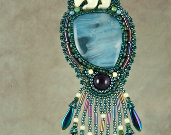 Necklace, Bead embroidery, beaded, polar bears, bone, tube agate, amethyst, bead embroidered necklace