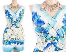Vintage 50s Romper // 1950s Romper // Hawaiian Romper // Cotton Romper Playsuit // Cotton Swimsuit - sz M/L - 28-30 Inch Waist
