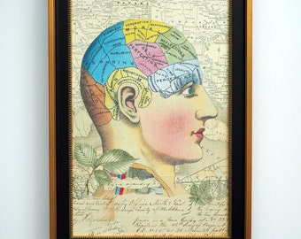 Collage Artwork, Gift for Doctor, Physiognomy, Phrenology, Chart, Physiology, Home Decor, Calligraphy, Middlesex, London, Anatomy