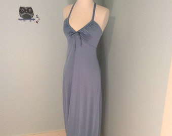 Vintage 70s Tie-Front Maxi Halter Dress in Powder Blue
