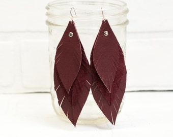 recycled, burgundy leather earrings, dangle, suede, leaves, leather, handmade, jewelry, layered, tassel earrings, leather, stacylynnc