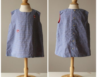 1950s Gingham Kittern Shift Dress~Size 18 Months