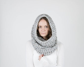 Chunky Cowl Scarf Shawl Hood Thermal / THE TOK / Grey Marble