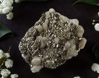 Pyrite Cluster - Pyrite Quartz Crystal from El Hamman Morocco - Moroccan Pyrite Crystal Cluster with Quartz Deposits - Cats Gold Crystal