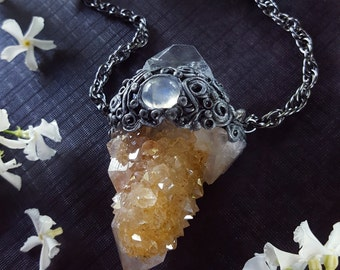 Spirit Quartz Necklace - Golden Healer Spirit Quartz with Apophyllite Pyramid and Moonstone - Large Spirit Quartz Pendant Necklace - Athena