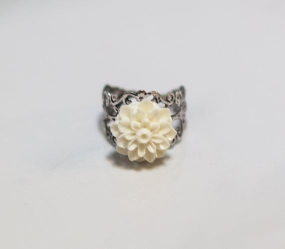 Ivory filigree ring, silver, gift, dahlia, Cabocon, handmade in Santa Cruz, nature inspired, silver plated