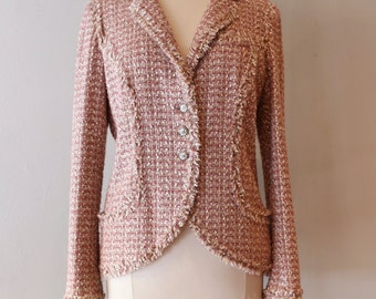 Vintage Chanel Tweed Jacket ~ Authentic Chanel Pink Tweed Jacket Size 46 ~ Vintage Chanel Silk Sequined Tweed Suit Jacket
