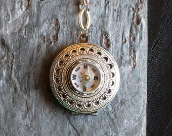 Working compass locket necklace, antique brass round locket pendant