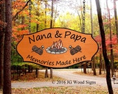 Colored Campfire Graphic with log - Custom Wood Camping Sign  - Great Fathers Day present - Family Name Sign JGWoodSigns Etsy