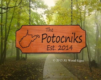Carved Wood Camping Signs  Family Name Sign - State Outline of your choice - Redwood Cedar JG Wood Signs Etsy Wood Camping Sign Potocnik