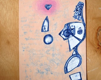 The Robot With A Heart - original oil pastel drawing