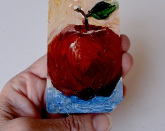 Art Oil Painting New York City  Big Apple on Recycled NYC Subway Card