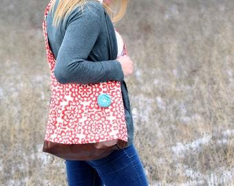Diaper Bag, Large Messenger Bag, Chevron Faux Leather Bag, Amy Butler Cross Body Purse, Crossbody Handbag