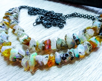 SALE Raw opal necklace | Rough opal stone necklace | Boho necklace | Fire opal necklace | Birthstone necklace