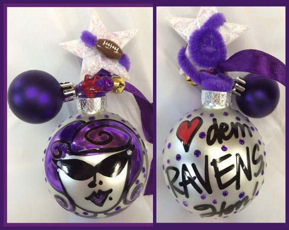 Baltimore RAVENS Hon Christmas ball ornament- FLIP hairdo. love dem Ravens Hon! Purple. 2015 is the last year I am painting ornaments!
