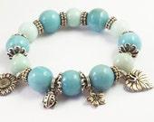Amazonite Bracelet/Amazonite Jewelry/Pewter Charm Bracelet/Tierracast Ladybug Charm/Pewter Jewelry/Blue Stone/Blue Stone Jewelry/Stack/N1B
