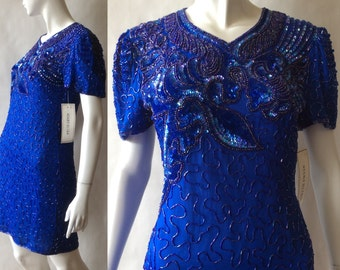 Vintage richly beaded royal blue glamour dress, 1980's, Silky Nites by Cherish Designs, short sleeves, midi length, medium / size 8 - 10