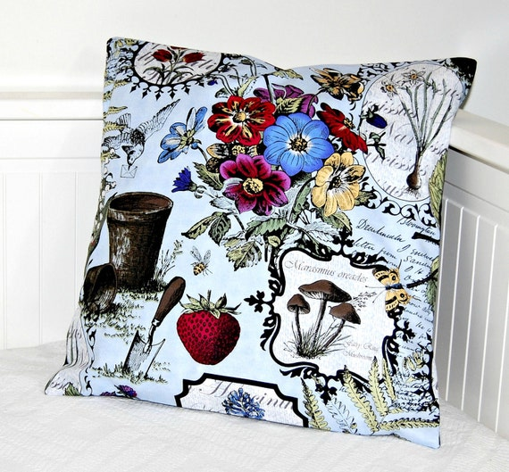 vintage style botanical pillow cover, garden cushion cover 16 inch