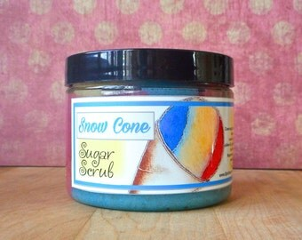 Snow Cone Sugar Scrub 8 oz - Blue Raspberry, Cherry, Lemon and Lime