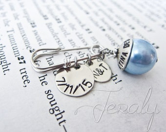 Something Blue Bridal Bouquet Pin, Custom Stamped Silver with Wedding Date, Initials - Glass Pearl Boutonniere, Corsage Alternative
