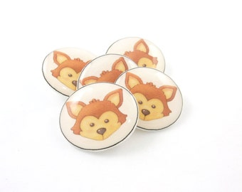 """5 Fox Buttons. 3/4"""" or 20 mm SHANK Handmade Woodland Animal  Decorative Novelty sewing buttons."""