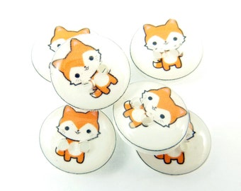 """6 SMALL Handmade Red fox Buttons.  1/2"""" or 15 mm Sewing Buttons. Novelty Buttons.  Scrap Book Buttons."""