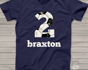 Soccer birthday tshirt - soccer party shirt - trendy number and lettering - pick any number
