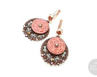 Romantic earrings rose peach, coral pink polymer clay, Rose Gold filled 23 carats - sous la mansarde®, shabby chic, spring, roses, retro