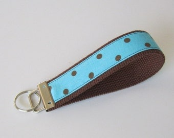 Wristlet Key Fob - Brown/Teal/Polka Dot